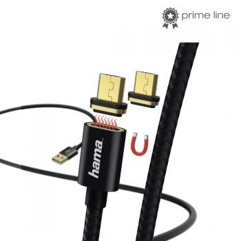 ADATKÁBEL MÁGNESES CSATLAKOZÓVAL, MICRO USB, 1M, FEKETE