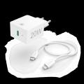 HÁLÓZTI TÖLTŐ (PD) 20W+LIGHTNING - USB TYPE-C ADATKÁBEL (APPLE GYORSTÖLTŐ SZETT)