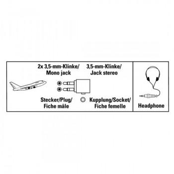 Reülőgép jack adapter; 2x3,5mm jack monó-3,5mm jack sztereó
